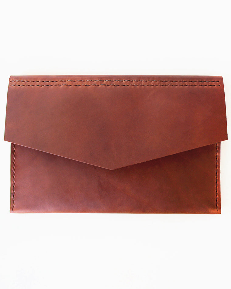 Tanned Leather Envelope Clutch