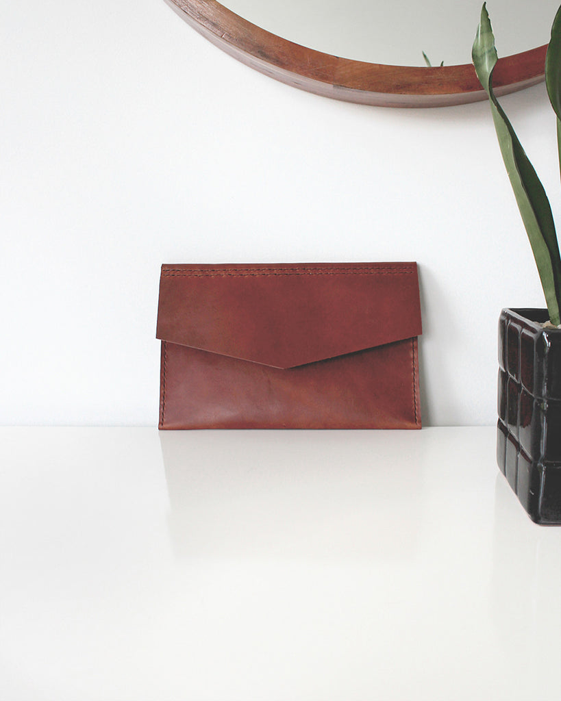 Tanned Leather Envelope Clutch | Pike Leather