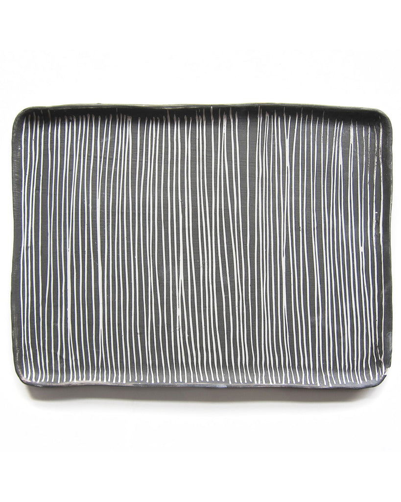 Reiko Yamamoto Striped Gray & White Serving Tray in Large