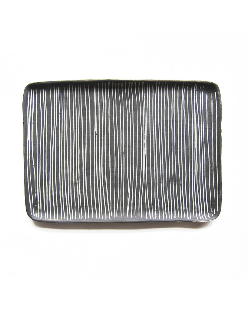 Reiko Yamamoto Striped Gray & White Serving Tray in Medium
