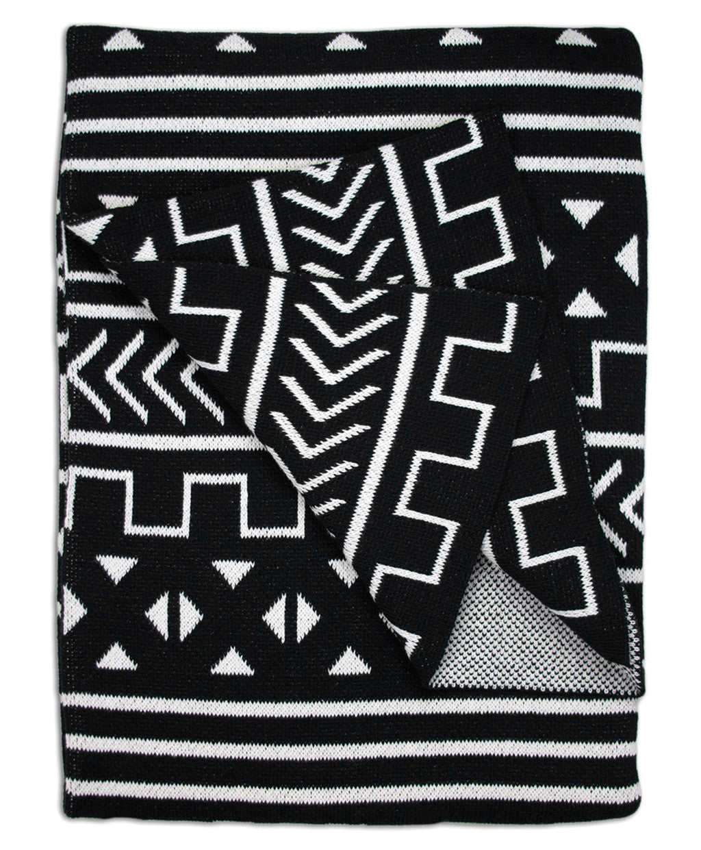 Black & White Mali Patterned Throw Blanket | Savannah Hayes