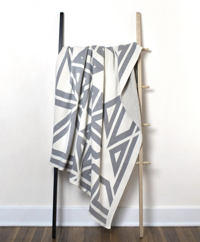 White & Gray Milas Patterned Throw Blanket | Savannah Hayes