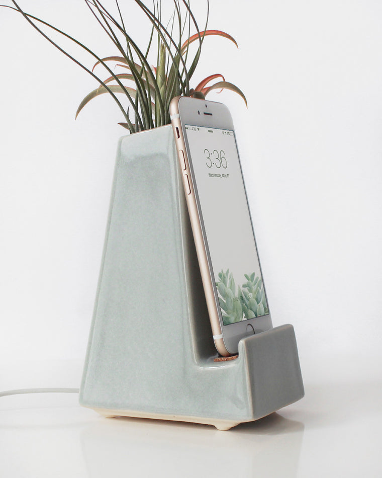 Gray Vase Phone Dock - Stak Ceramics