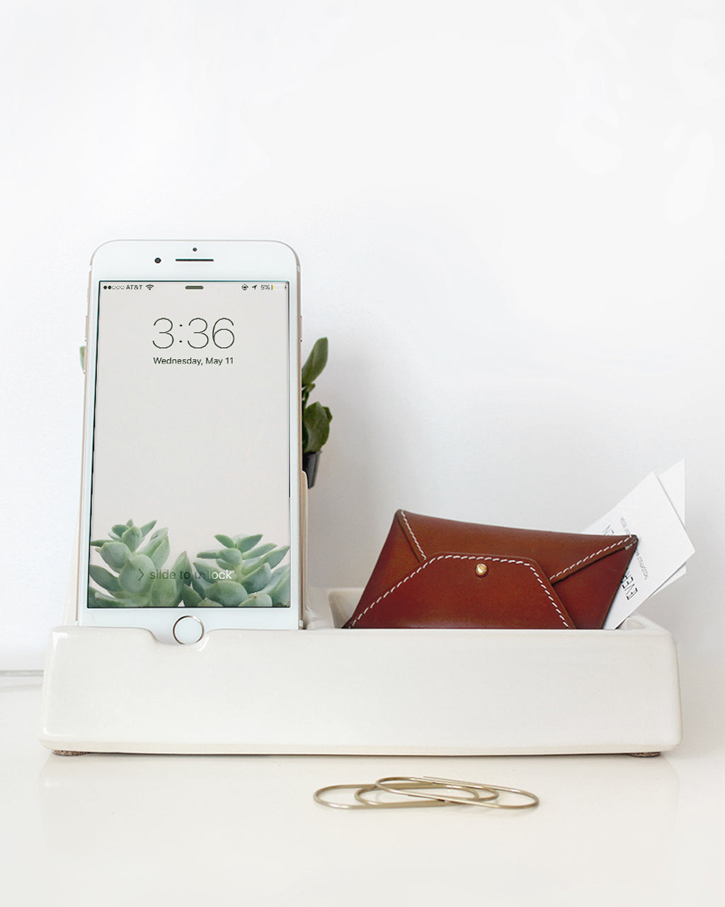 White Valet Phone Dock