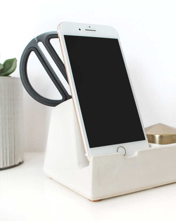 White Valet Phone Dock - Stak Ceramics