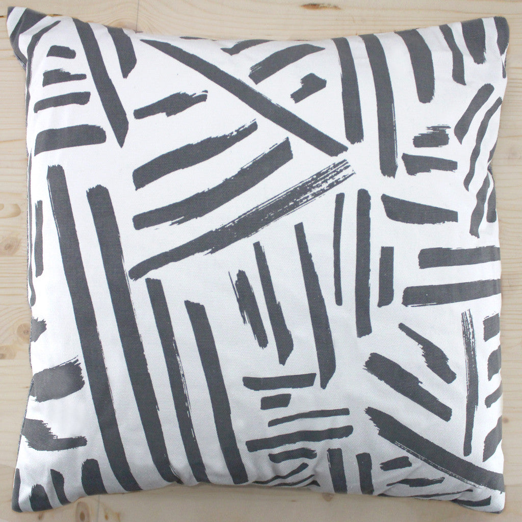 "Such Sweet Tierney Slate Gray Marks 18""x18"" Pillow 