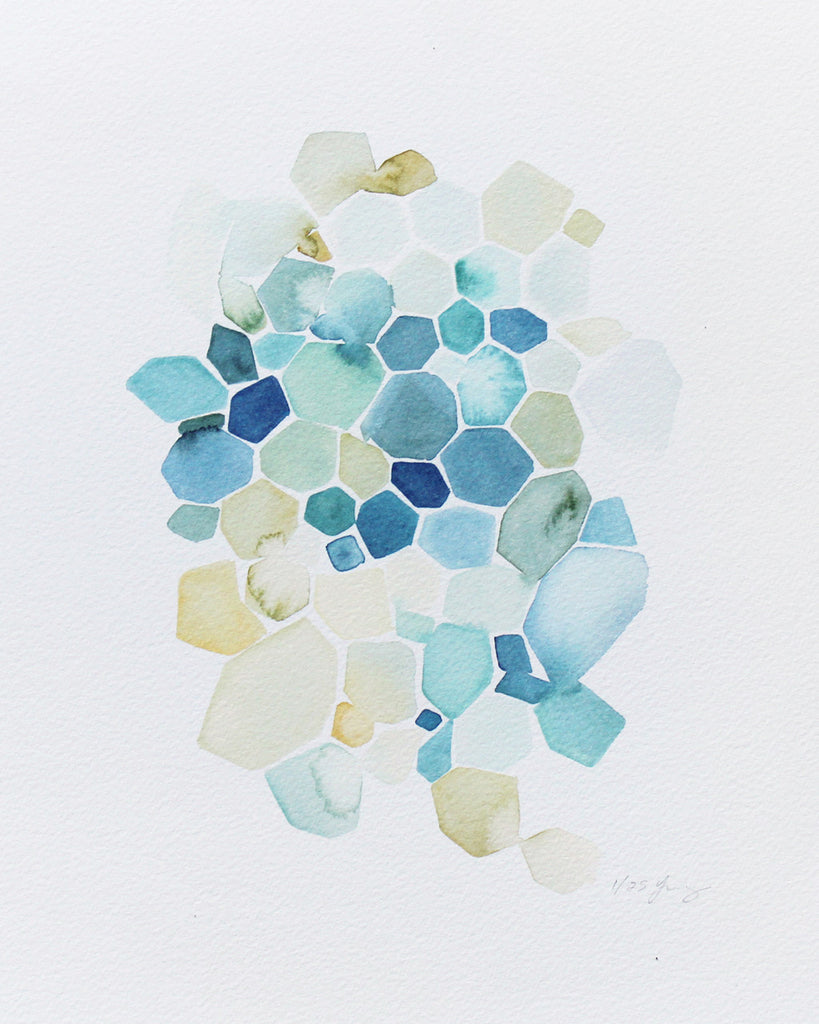 "Yao Cheng Hexagon in Turquoise 8.5""x11"" Limited Edition Print"
