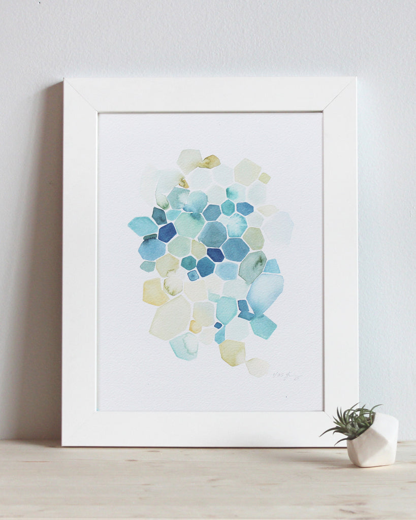 "Hexagon in Turquoise 8.5""x11"" Limited Edition Print 