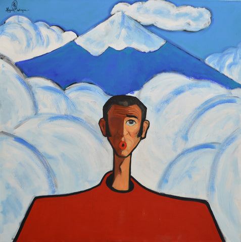 Worried man with Popocatepetl