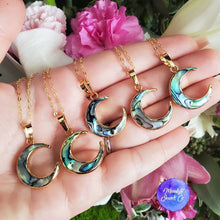 Load image into Gallery viewer, Abalone Moon Necklace; Crescent Moon Necklace; Moon Jewelry; Abalone Jewelry