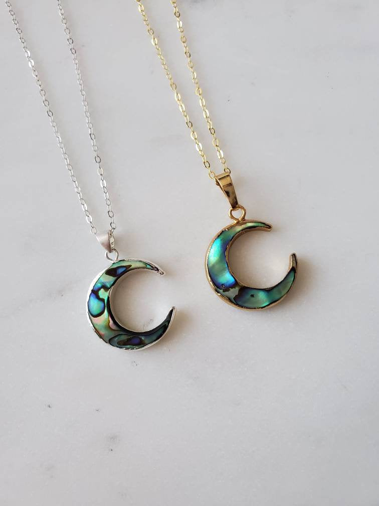 Abalone Moon Necklace; Crescent Moon Necklace; Moon Jewelry; Abalone Jewelry