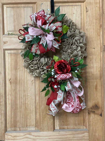 Valentines rose burlap wreath