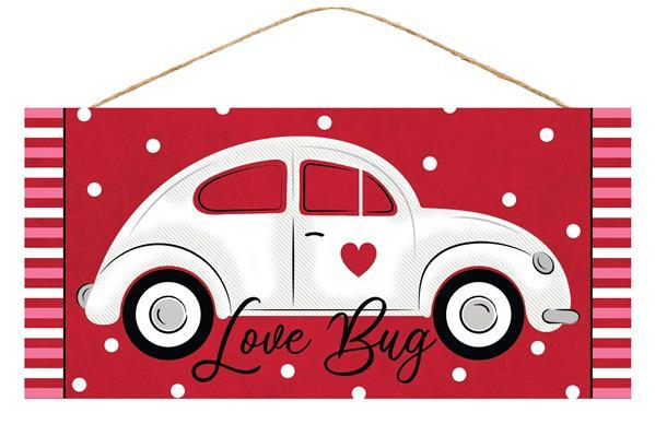 "12.5""L X 6""H LOVE BUG/CAR SIGN RED/WHITE/BLACK/PINK AP875424"