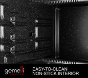 The Gemelli Oven Has An Easy To Clean Non-Stick Interior That Makes Kitchen Cleanup Fast And Easy