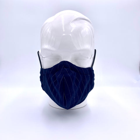 Pinstripe navy blue mask