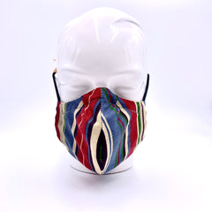 Red and blue strips mask