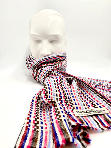 White/red//blue Cashmere scarf