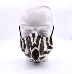 Grey and white mask