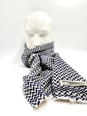 Dark blue and white Cashmere scarf