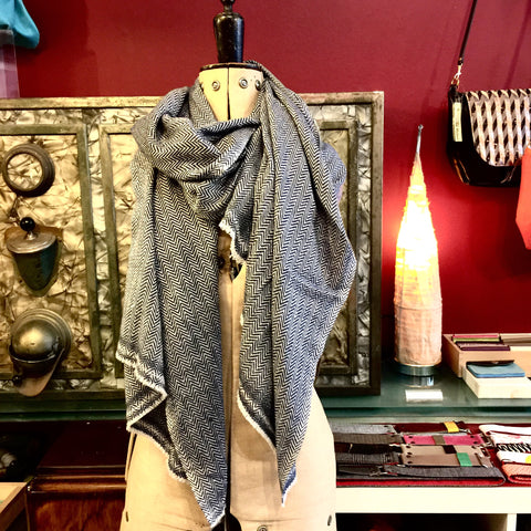 Large Indigo blue Cashmere Shawl