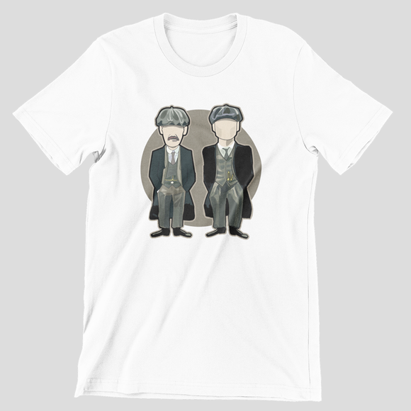 Tricou alb Peaky Blinders Arthur and Tommy