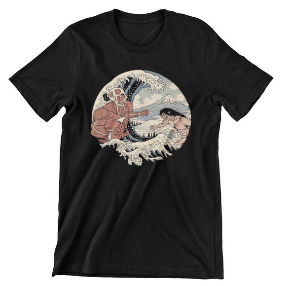 Tricou negru Attack on Titan Battle in Water