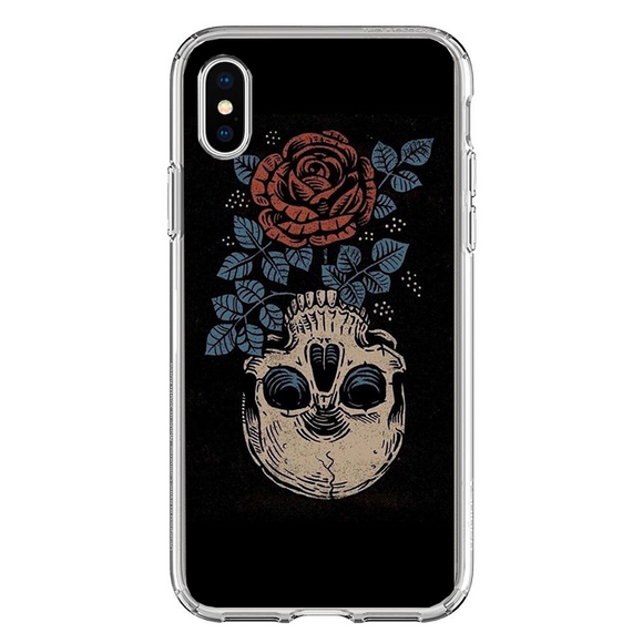 Husa iPhone X Rose Skull