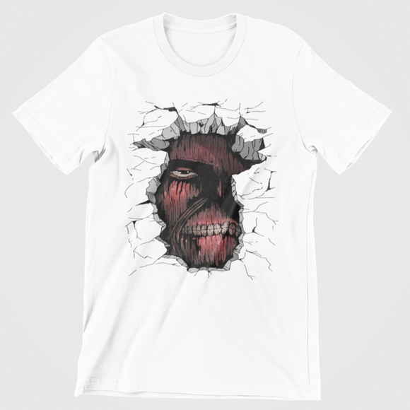 Tricou alb Attack on titan Titan Wall