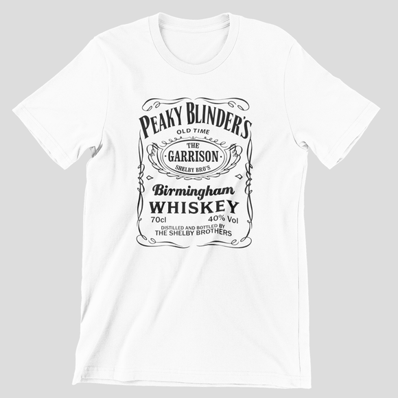Tricou alb Peaky Blinders Whiskey