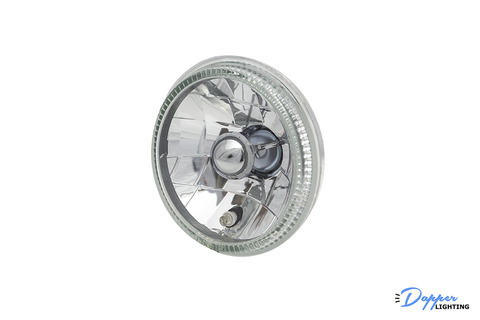5.75 Inch Round Diamond-Cut Headlight with Halo