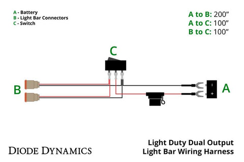 led light bar wiring harness light duty dual output