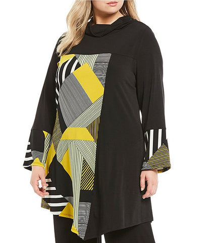 Plus Size Abstract Colorblock Print Asymmetrical Hem Cowl Neck Top