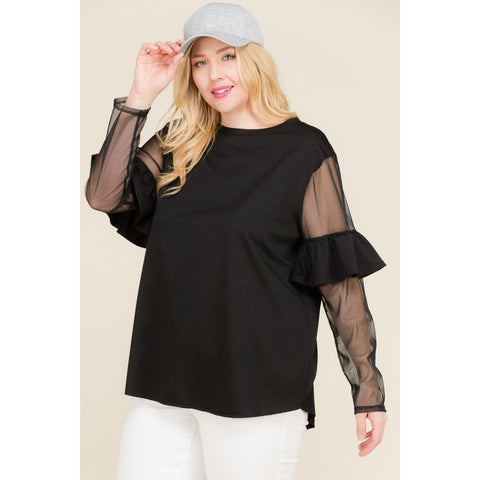 French Terry Ruffle Top
