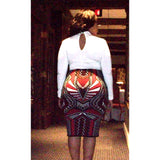 Tribal Print Knit Pencil Skirt