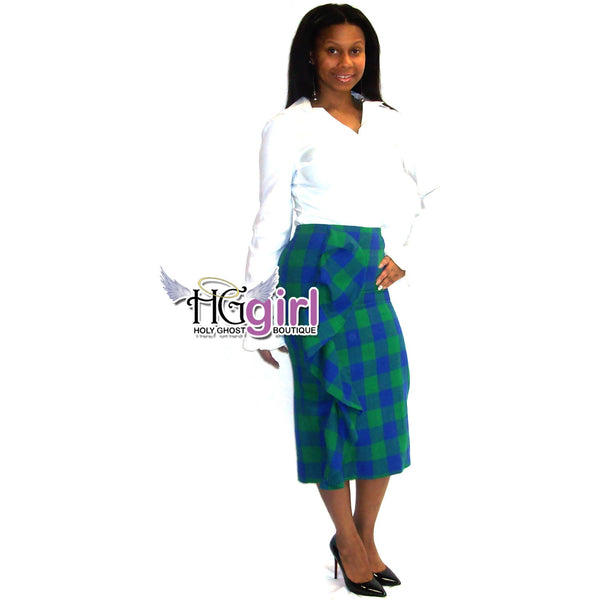 Plaid Side Ruffle Pencil Skirt