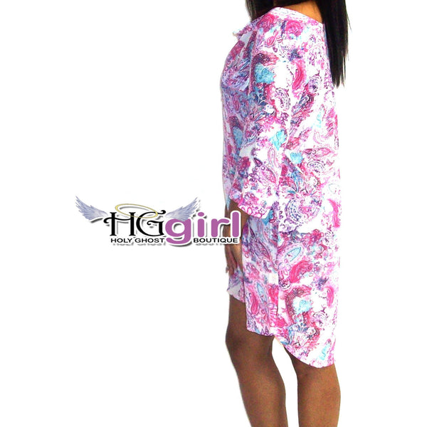 Paisley Hi-Low Shift Dress