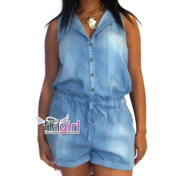 Clutch Denim Romper
