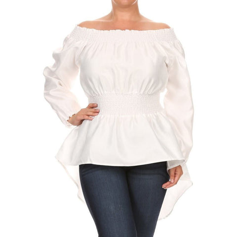 Off-Shoulder Lace Back Blouse