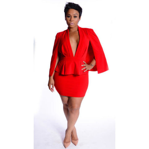Red Batwing Cape Deep Plunge Mini Suit- Size Medium
