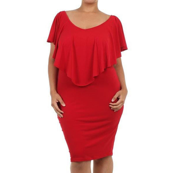 Flutter Sleeve Body Con Dress