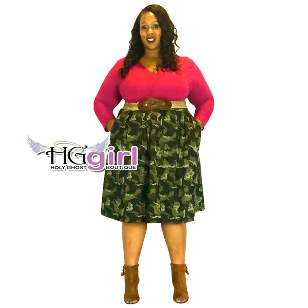 Plus Size High Waisted Camo Print A-Line Skirt
