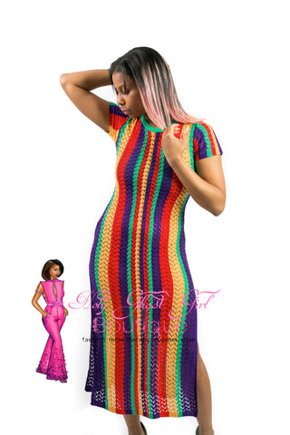 Rainbow Double Split Crochet Cover Dress
