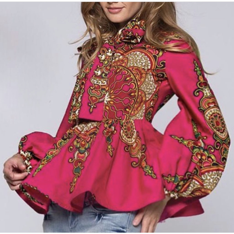 Plus Size Peplum Dishiki Blouse- Fuschia