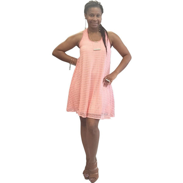 Peach Tea Ruffle Back Dress- Size Small