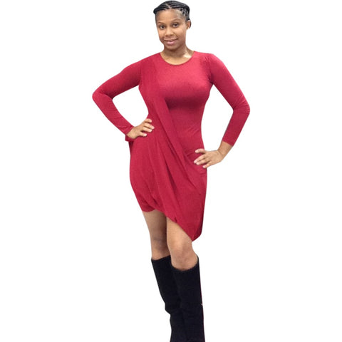 Classy Red Knee Length Drape Fitted Body Con Dress