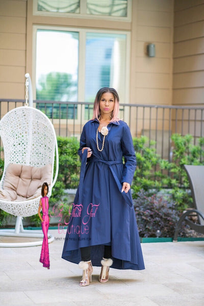 Broadcloth Collared Button Up Dress-Navy