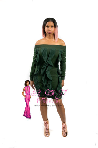 Evergreen Bardot Off-Shoulder Ruffle Sweater Dress