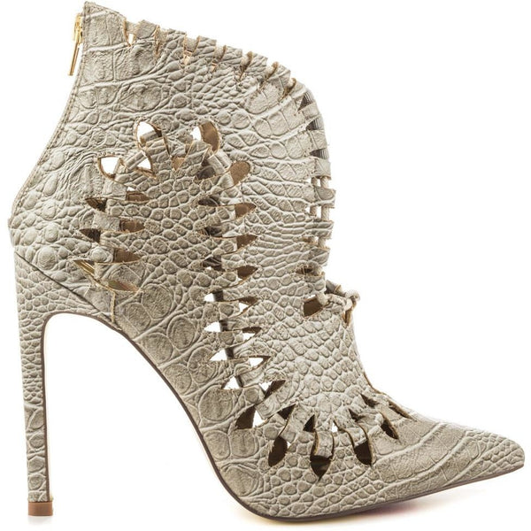"Stone Cold ""Luchinny""  Grey Snake Skin Design Shoe Bootie"