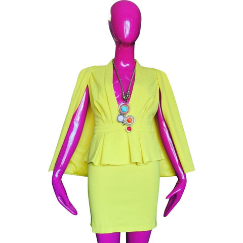 Yellow Deep Plunge Peplum Mini Dress Suit