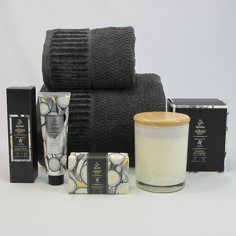 Mens gift hamper luxury bath towels and Alpine loft scented soy candle, lotion and soap